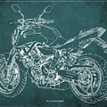 2018 Yamaha Mt07 Blueprint Green Background Fathers Day Gift by Drawspots Illustrations