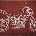 2018 Yamaha Mt07 Blueprint  Red Background Fathers Day Gift by Drawspots Illustrations