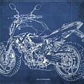 2018 Yamaha Mt07,blueprint,blue Background,fathers Day Gift, 2018 by Drawspots Illustrations