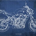 2018 Yamaha Mt07,blueprint,blue Background,fathers Day Gift by Drawspots Illustrations