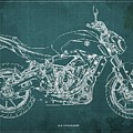 2018 Yamaha Mt07,blueprint,green Background,fathers Day Gift,2018 by Drawspots Illustrations
