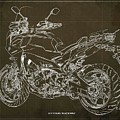 2018 Yamaha Tracer 900gt Blueprint Brown Background Two Wheels Move The Soul by Drawspots Illustrations