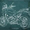 2018 Yamaha Tracer 900gt Blueprint Green Background by Drawspots Illustrations