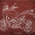 2018 Yamaha Tracer 900gt Blueprint Red Background Gift For Dad by Drawspots Illustrations