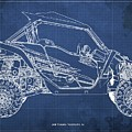 2018 Yamaha Wolverine X4 Blueprint Blue Background Gift For Dad by Drawspots Illustrations