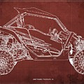 2018 Yamaha Wolverine X4 Blueprint Red Background Gift For Him by Drawspots Illustrations