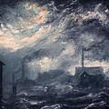 20th Century Industrial Landscape by M P Elliott British Northern Artist