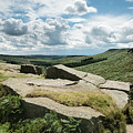 Beautiful Vibrant Landscape Image Of Burbage Edge And Rocks In S by Matthew Gibson