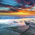 Sunrise Seascape And Rock Platform by Merrillie Redden