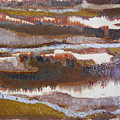 21. V2 Rustic Brown, Red And White Glaze Painting by Maggie Minor