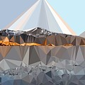Abstract Art Landscape Of Triangles by Elena Kosvincheva
