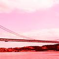 25 De Abril Bridge In Crimson by Lorraine Devon Wilke