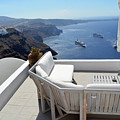29 September 2016 Lounge Terrace And The View Of Volcanic Caldera In Santorini, Greece by Oana Unciuleanu