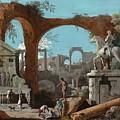A Capriccio Of Roman Ruins by Marco Ricci