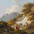 A Mother And Child Watching Workman In A Quarry by George Morland