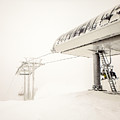 Abstract Scenes At Ski Resort During Snow Storm by Alex Grichenko