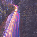 Automobile Traffic Long Exposure At Dusk In Pisgah National Park by Alex Grichenko