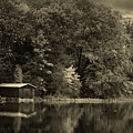 Autumn Lake Boathouse by Pixabay