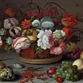 Basket Of Flowers by Balthasar Van Der Ast