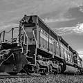Blue Freight Train Engine At Sunrise  by Alex Grichenko