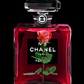 Chanel Perfume With Red Roses by Del Art