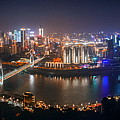 Chongqing Urban Architecture At Night by Songquan Deng