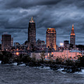Cleveland Skyline At Dusk From Edgewater Park by At Lands End Photography
