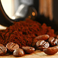 Coffee Beans And Ground Coffee by Elena Elisseeva