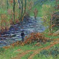 Fisher On The Bank Of The River by Henri Moret