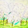 Hand Painted Picture, Spring Garden by Irina Afonskaya