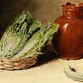 Hunt William Henry Still Life With A Jug A Cabbage In A Basket And A Gherkin William Henry Hunt by Eloisa Mannion