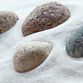 Meditation Stones On White Sand by Michelle Himes