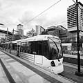 metrolink trams at mediacity station Manchester uk by Joe Fox