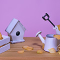 Miniature Gardening Kit With Pink Background by Eiko Tsuchiya