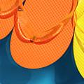 Multicolored Flip Flops Floating In Pool by Jim Corwin