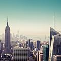 New York Manhattan Skyline At Sunset by Leonardo Patrizi