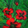 3 Red Poppies by Sofia Metal Queen