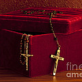 Red Velvet Box With Cross And Rosary by Jim Corwin