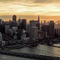 San Francisco City Skyline At Sunset Aerial by David Oppenheimer