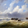 Ships On A Stormy Sea by Josef Carl