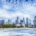 Snow And Ice Covered City And Streets Of Charlotte Nc Usa by Alex Grichenko