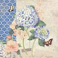 Summer Memories - Blue Hydrangea N Butterflies by Audrey Jeanne Roberts