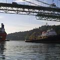 The New Tacoma Narrows Bridge - Crowley Tug by Alan Espasandin