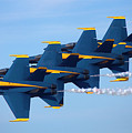 U S Navy Blue Angeles, Formation Flying, Smoke On by Bruce Beck
