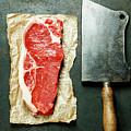 Vintage Cleaver And Raw Beef Steak by Natalia Klenova