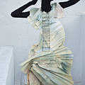 Woman With Black Boby Paint In Paper Dress by Veronica Azaryan
