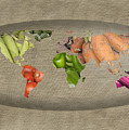 World Fruits Vegetables Map by Ezume Images