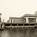 30th Street Station From The River Walk In Sepia by Bill Cannon