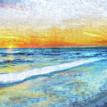 Seascape Sunrise Impressionist Digital Painting 31a by Ricardos Creations