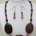 3544 Rhodonite Necklace Bracelet And Earring Set by Teresa Mucha
